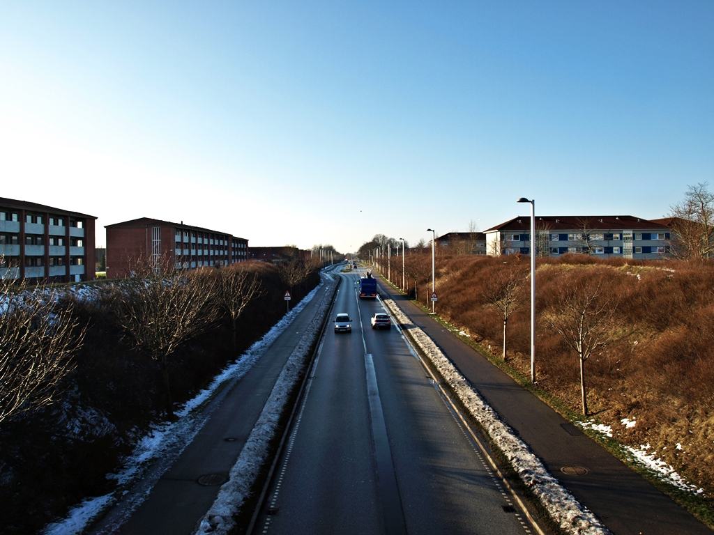 A view from a footbridge to the apartment buildings on the north end of town. 03.02.14