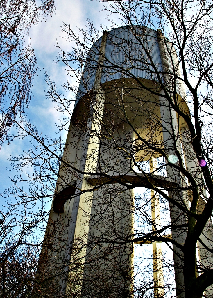 A former water tower. Now there are plans to establish a restaurant and 10 apartments in the tower. 05.02.14